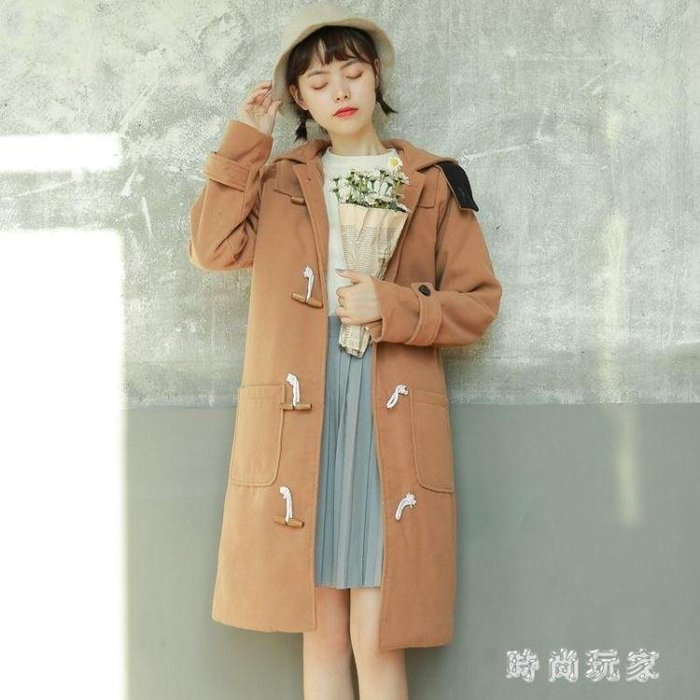 牛角釦大衣 中大尺碼毛呢外套女新款冬季寬鬆連帽牛角扣呢子大衣OB1909