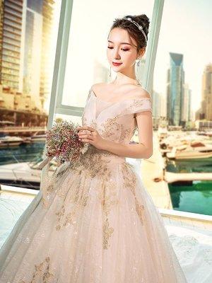 婚紗 禮服 一字肩v婚紗禮服2019新款齊地新娘結婚宮廷大碼夢幻公主長拖尾春