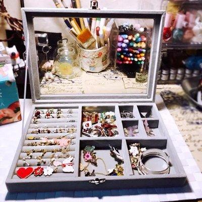 首飾收納盒百寶箱耳環耳釘整理盒髮卡戒指絨布防塵帶蓋小飾品盒子    全館免運