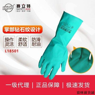 勞保防護 賽立特SAFETY-INXS丁腈平直袖口手套L18501