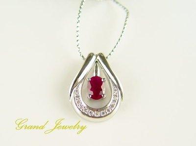 紅寶石墜 1克拉 天然泰國紅寶石 鑽石吊墜 附保證書 七月誔生石【大千珠寶】