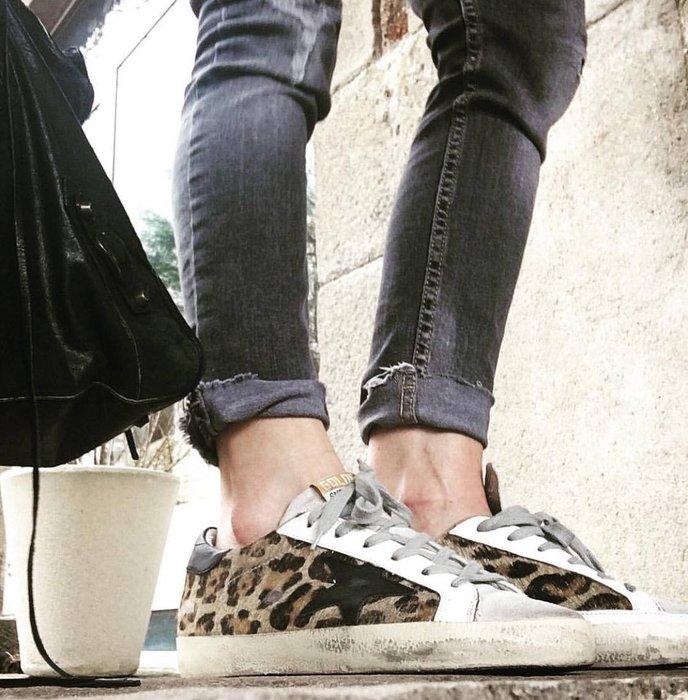 《美國T`s Shop》超美!推薦款 GOLDEN GOOSE 豹紋毛皮黑星星仿舊運動休閒鞋 髒鞋 GGDB