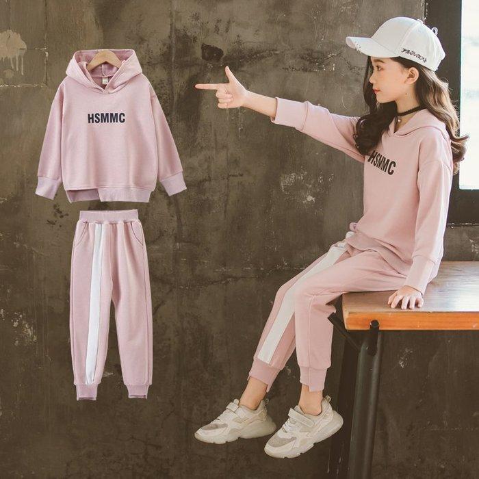 『媽咪貝貝』女童春季套裝2019新款時髦洋氣春裝中大童連帽衛衣兩件套女孩潮衣