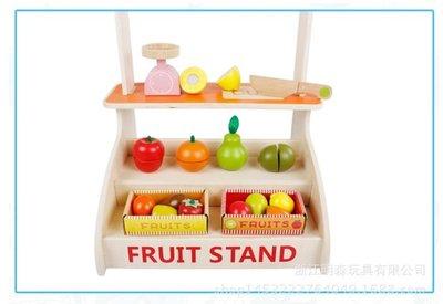 【晴晴百寶盒】木製水果切切樂攤販家家酒 寶寶过家家玩具 角色扮演 積木 秩序智力提升 練習 禮物 平價促銷 P078