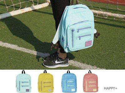 HAPPY+【V5046】COLOUR 色彩 方形 雙肩包 運動系 學院風 背包 侧袋 双肩包 小清新 学院 旅行背包