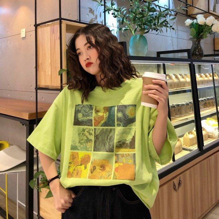 夏季女裝短袖T恤 韓版寬松BF風圓領T恤上衣女春裝網紅港風白色短袖百搭打底衫