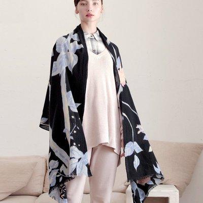 羊毛披肩 長 圍巾-印花薄款蓬鬆柔軟女配件73wq12[獨家進口][米蘭精品]