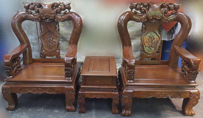 樂居二手家具 家電 全新中古傢俱賣場 ZM1214CJ 黃花梨 戰國10件組椅*木頭椅 客廳組椅 泡茶桌椅 仿古家具