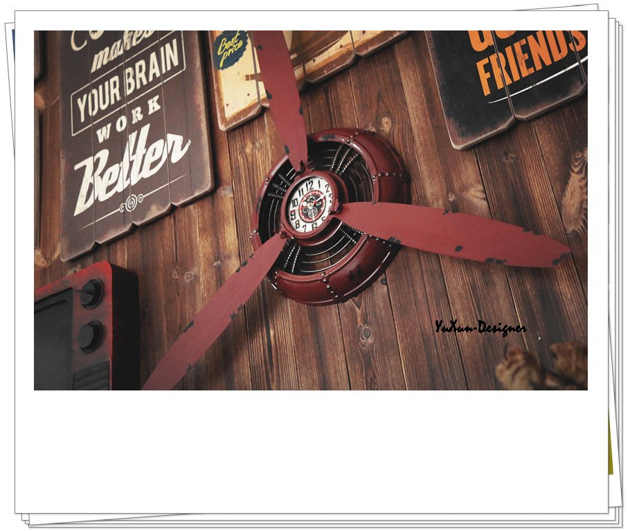 LOFT工業風 飛機引擎大掛鐘 大號鐵藝飛機時鐘 壁飾壁掛牆上裝飾品創意牆面 美式復古風格 宥薰設計家