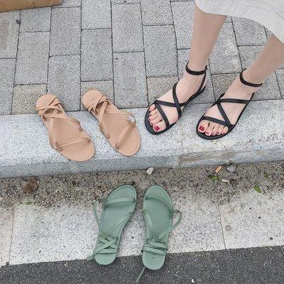 新款~熱銷~網紅涼鞋女夏仙女風2019新款平底百搭綁帶沙灘鞋性感細帶羅馬鞋潮「印象家」生活