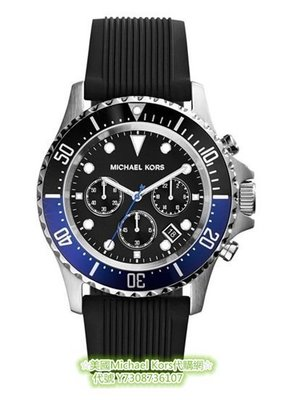 ☆美國Michael Kors代購網☆ 熱銷款時尚質感黑色三眼功能 矽膠錶帶運動型男錶 MK8365 美國正品代購