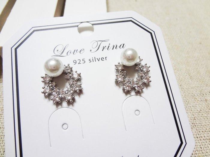 【Love Trina】H6517-8148。 925銀針。簡約百搭圓形珍珠鋯石耳針式耳環--銀針(1色)