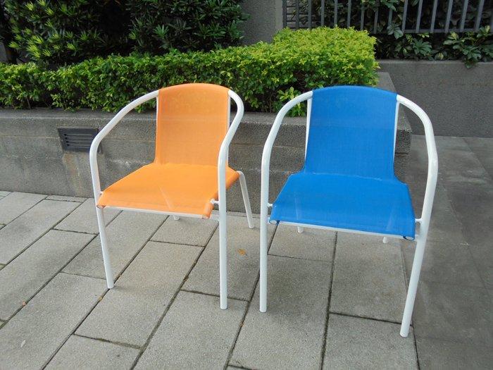 [兄弟牌休閒傢俱] 餐椅白管紗網椅/單張~藍色,橘色可任選,純白管搭配亮麗色布,選購 3 張以上請先通知再下標,收納椅