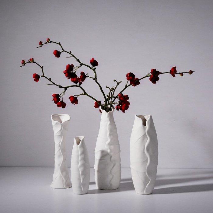 熱賣創意中式白色荷葉陶瓷干花花瓶擺件 客廳裝飾品 假花插花水培花器#擺件#陶瓷#北歐