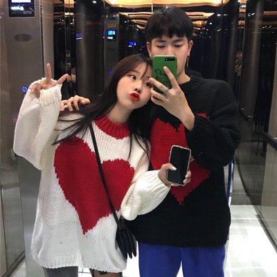 同色系情侶裝毛衣ins新款韓版甜美寬松上衣長袖套頭針織衫