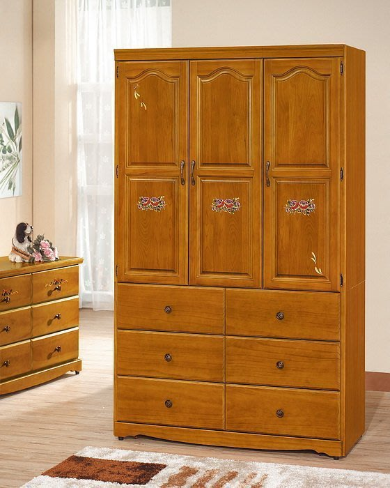 【DH】商品貨號CK-F304商品名稱《艾蜜》4X7尺歐風時尚實木彩繪衣櫃(圖一)備3X6尺4X6尺另計。主要地區免運費