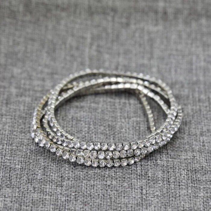 外銷歐美飾品💃1套4個特價新款日韓流手鍊超值銀色滿鑽彈力手環首飾飾品