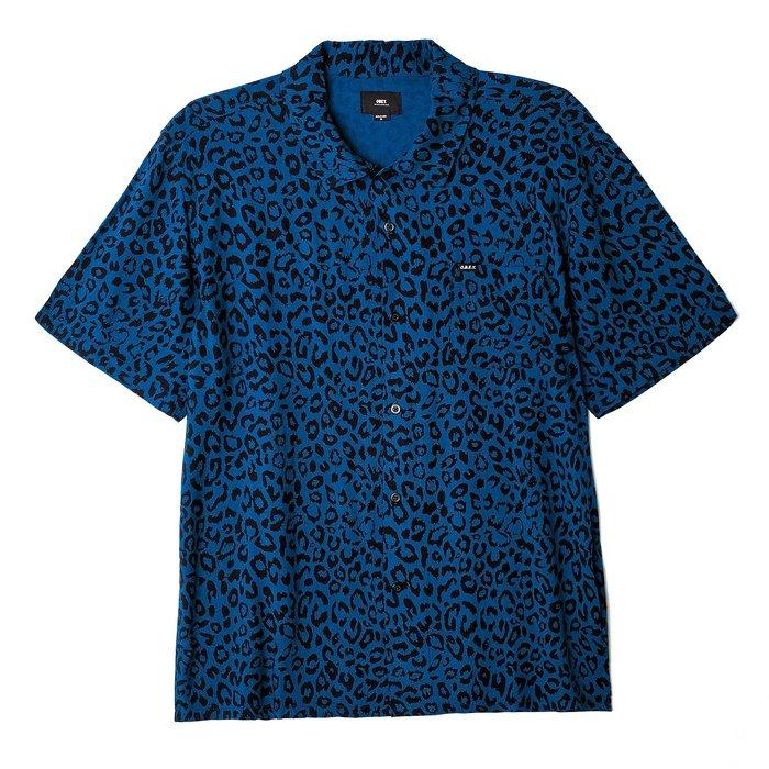 [CABAS滑板店] OBEY LEO WOVEN SHIRT 藍豹紋 | 短袖襯衫 滑板 美式