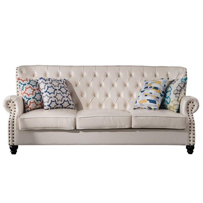 美式鄉村真皮拉扣沙發頭層牛皮三人客廳單人老虎椅123組合小戶型