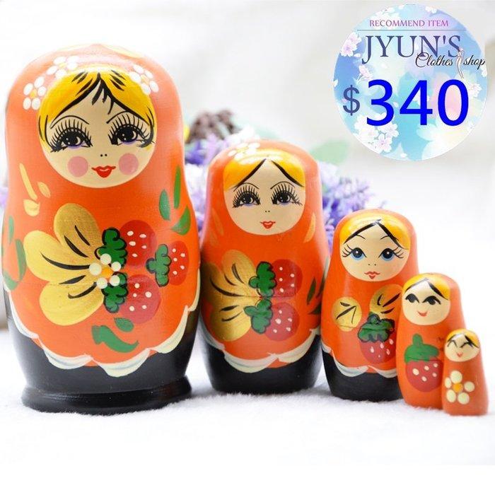 套件 手工木製手繪草莓花朵椴木俄羅斯套娃娃擺件進口正品7層生日禮物禮品情人節1色-JYUN'S 預購