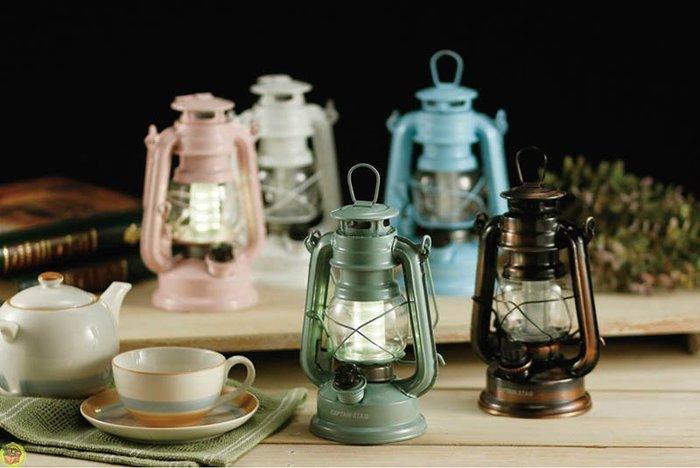 【JPGO】日本進口 CAPTAIN STAG鹿牌 古董暖色LED露營燈 提燈 夜燈 吊燈~青銅/粉/藍/綠