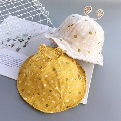 遮陽帽 春秋寶寶漁夫帽子圓點蝸牛盆帽太陽帽夏天1-2-3歲男女兒童遮陽帽