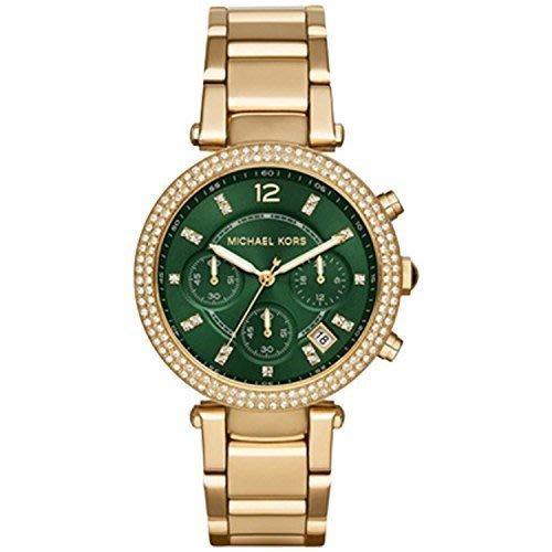 【Michael Kors】MK6263 美國全新正品 晶鑽翠綠錶盤金色不銹鋼錶帶三眼腕錶