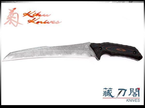 《藏刀閣》松田菊男-(KM-855)PIKE-鐮刀式刃下彎黑紅電木柄開山刀