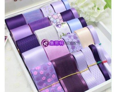 韓版 緞帶蝴蝶結 手工髮夾 頭飾 髮飾DIY材料包(紫色系)(626-3)