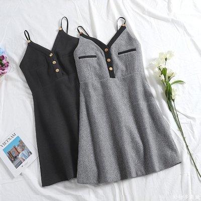 好物多商城 秋裝女新款歐洲站A字裙毛呢修身女人味吊帶連衣裙V領短裙A146