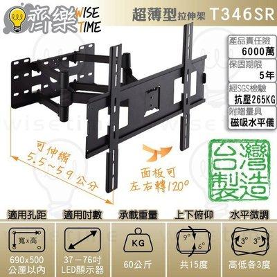 齊樂台北~37-76吋超薄型雙臂拉伸電視架.壁掛架(台灣製)T346SR-俯仰15左右120度/適用孔距69x50cm