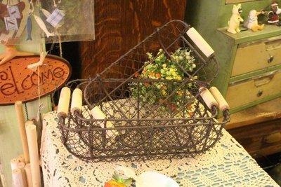 zakka糖果臘腸鄉村雜貨坊   雜貨類..Mark 原木左右提把收納籃.水果籃.展示籃架(婚紗攝影聖誕節商品陳列化妝台
