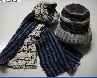 TRAVELER 全新 100%羊毛 繞頸羊毛圍巾-藍白(181*28)-雙層毛線.內外兩面或配色織紋面