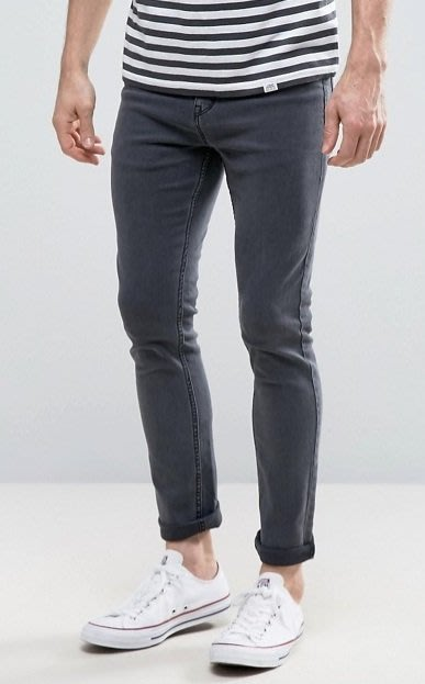 ◎美國代買◎ASOS代買灰黑刷色反摺褲口合身顯廋灰色合身牛仔褲~歐美街風~大尺碼~