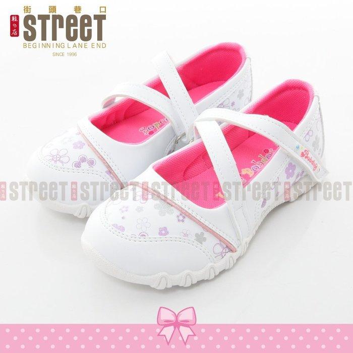 【街頭巷口 Street】台灣自創品牌 女童 魔鬼氈式 皮鞋 公主鞋 戶外休閒鞋 CDBO080W 白色