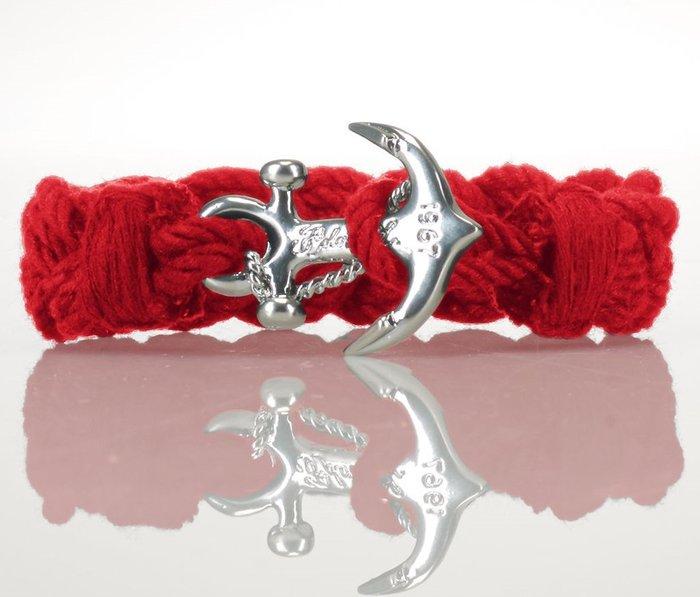 大降價!全新 Ralph Lauren 紅色海洋風棉質布面編織混金屬手鍊手環,附禮盒,低價起標無底價!本商品免運費!