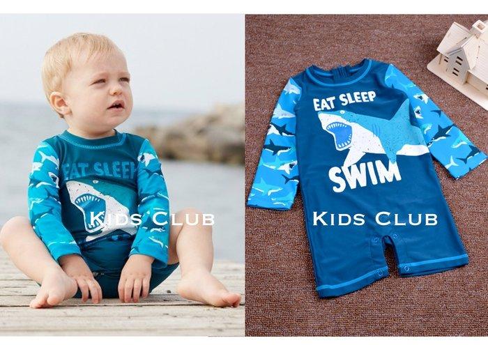 【Kids Club】2/15 加拿大品牌嬰兒寶寶兒童裝夏季鯊魚印花連身游泳衣防曬UPF50+抗紫外線長袖可開檔泳裝