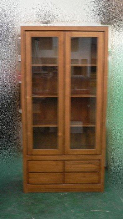 樂居二手家具 台中全新中古傢俱 *TK905 全新柚木實木有門書櫃*兩門四抽 兩門書櫃 柚木書櫃 實木書櫃 柚木書架