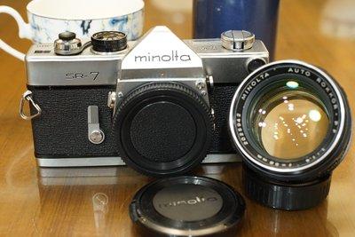 【售】品相很好純機械Minolta SR-7加購Auto Rokkor 58mm F1.4 大眼睛人像鏡接環