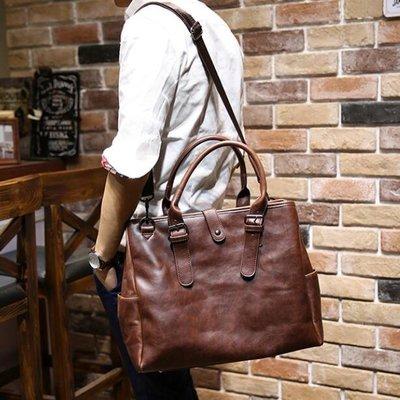 FINDSENSE Z1 韓國 時尚 潮 男 皮質 複古咖啡色 手提包 單肩包 斜背包 側背包