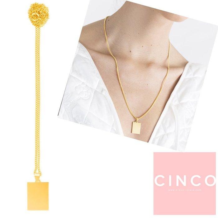 葡萄牙精品 CINCO 台北ShopSmart直營店 Elodie necklace 24K金硬幣項鍊 素面長方款