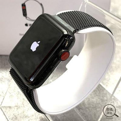 『澄橘』Apple Watch Series 3 3代 42mm LTE 黑不鏽鋼 黑米蘭錶環《二手 中古》B00996