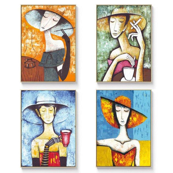 ☺暖暖屋☺傢居藝術館 歐美式人物吸煙的女人裝飾畫/掛畫/有框畫/多款樣式/多種尺寸