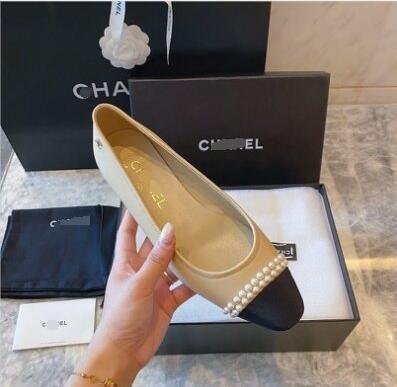 CHA小香家 雙排珍珠拼色平底鞋 圓頭低跟鞋娃娃鞋~妖精館