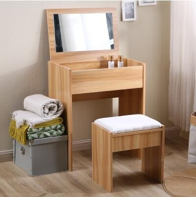 梳妝台迷你小戶型現代簡約化妝桌臥室翻蓋實木化妝台經濟型多功能Y-優思思