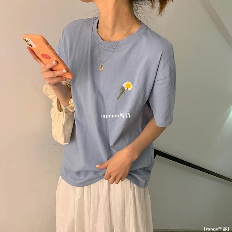 ✿Lu girl 自制霧霾藍短袖T恤衫女INS日系小雛菊文藝清新可愛風甜美軟妹學生上衣JU19