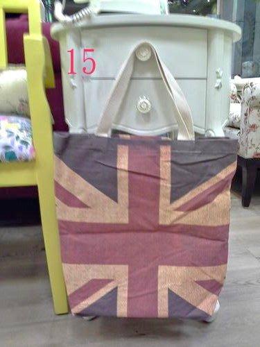 美生活館---全新日式雜貨ZAKKA鄉村風貓頭鷹玫瑰熊花草英國國旗帆布袋購物袋手提袋--15