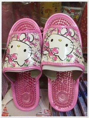 小公主日本精品♥ Hello Kitty 健康按摩拖鞋 室內拖鞋 按摩拖鞋 居家拖鞋 粉色格紋櫻桃(M號)