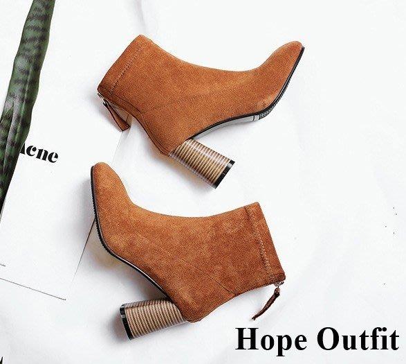 真皮 瘦腿No.1神靴 踝靴 粗跟裸踝靴 瘦腿靴 秋冬必備尖頭瘦腿靴 尖頭靴 跟靴