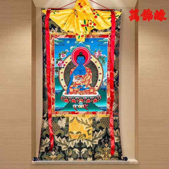 【萬佛緣】門祖巴唐卡刺繡布料裝裱西藏唐卡裝飾掛畫門祖巴唐卡佛像154公分